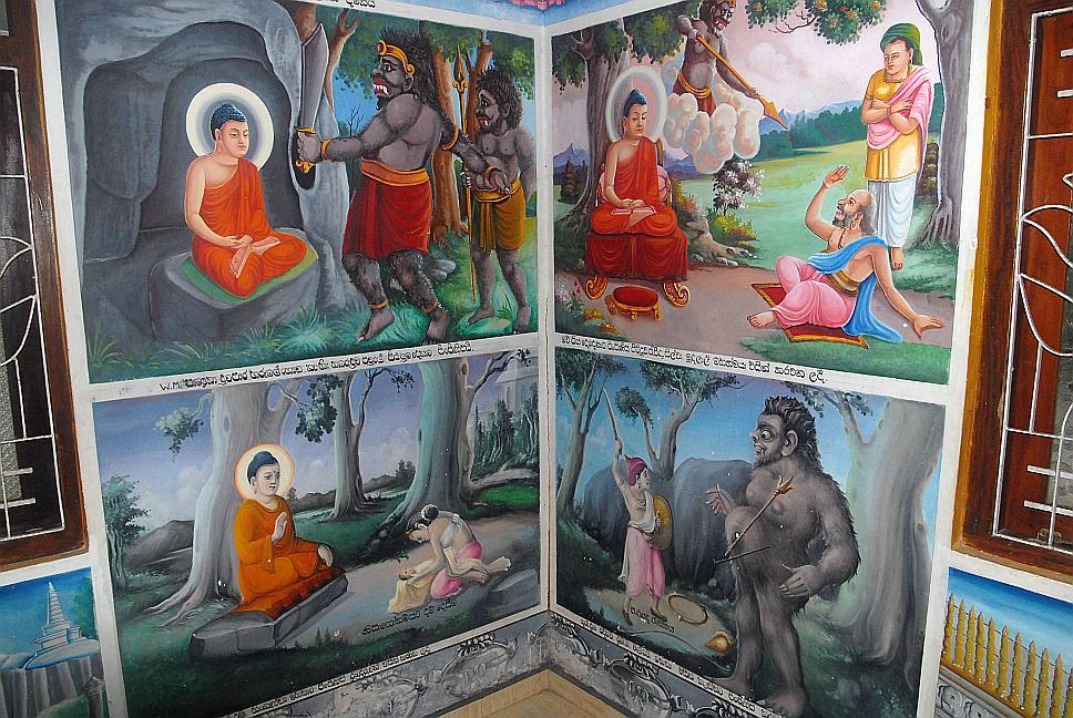 Nástěnné malby v Budhově chrámu, výlet lodí, Srí Lanka